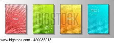 Trendy Circle Perforated Halftone Cover Page Templates Vector Collection. Medical Booklet Faded Half