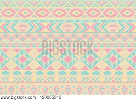 Indian Pattern Tribal Ethnic Motifs Geometric Seamless Vector Background. Rich Ikat Tribal Motifs Cl