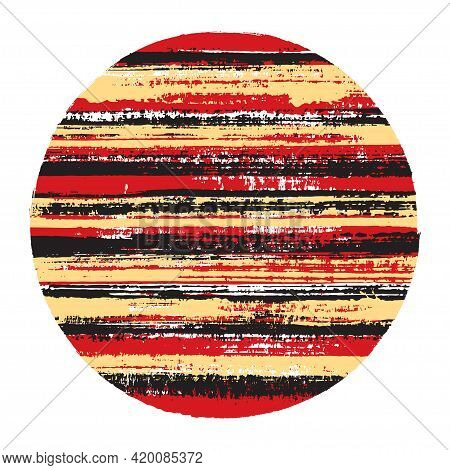 Abstract Circle Vector Geometric Shape With Striped Texture Of Paint Horizontal Lines. Old Paint Tex