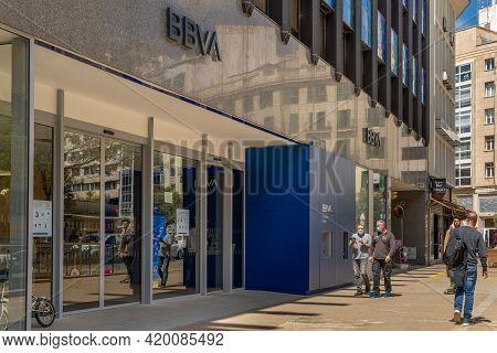 Palma De Mallorca, Spain; April 13 2021: Main Facade Of The Spanish Bank Bbva, In The Historic Cente