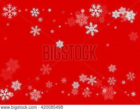 Winter Snowflakes Border Magic Vector Background. Macro Snowflakes Flying Border Design, Holiday Car