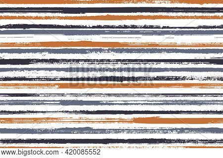 Pain Freehand Grunge Stripes Vector Seamless Pattern. Variegated Interior Wall Decor Design. Old Sty