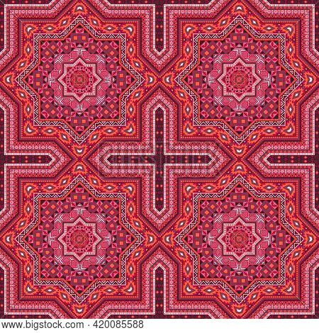 Simple Moroccan Zellige Tile Seamless Rapport. Geometric Texture Vector Elements. Curtains Print Des
