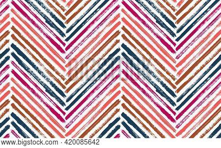 Bohemian Zig Zag Fashion Print Vector Seamless Pattern. Paintbrush Strokes Geometric Stripes. Hand D