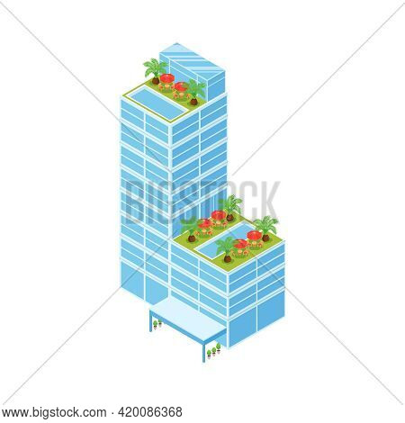 Isometric Icon Of Hotel Building With Recreational Area And Pool On Roof Vector Illustration