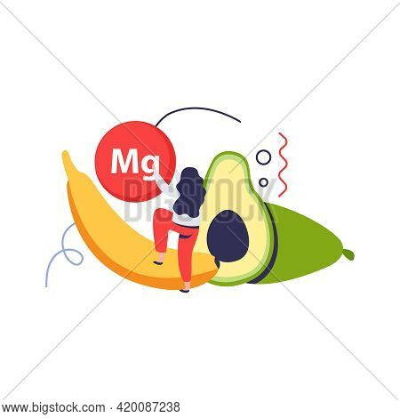Vitamins In Products Composition With Magnesium Sign And Banana With Avocado And Girl Vector Illustr