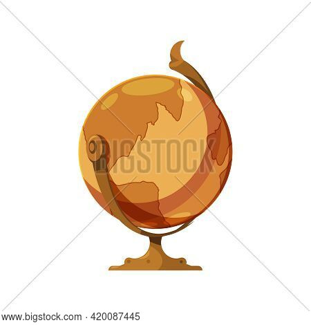 Old Library Interior Composition With Isolated Image Of Vintage Earth Globe Vector Illustration