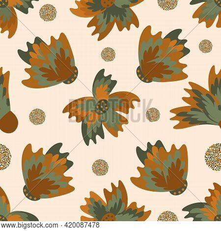 Wild Meadowflower Blossom Seamless Vecor Pattern Background. Ochre And Sage Green Painterly Florals