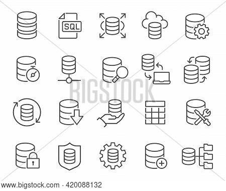 Database Icons Set. Such As Data Processing And Management, Customization, Exchange, Protection, Rep
