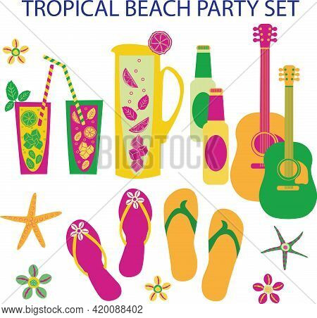 Tropical Beach Party Vector Set. Collection Of Isolated Mojito Jugs, Drinks Glasses With Bendy Straw