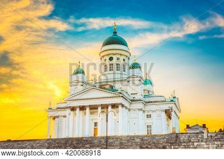 Helsinki Cathedral, Helsinki, Finland. Summer Sunset Evening.