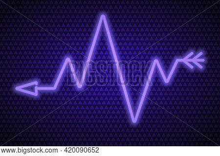Arrow. Zigzag Indicator. Neon Glow. Vector Illustration. The Purple Symbol Indicates The Direction.