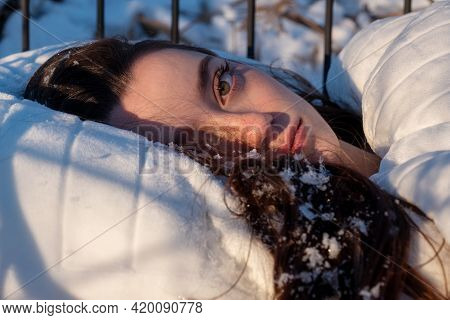 Wonderful Portrait Of An Attractive, Young, Sexy, Seductive Dark Brown Haired Woman In Bed, Winter S