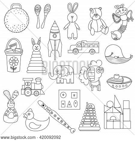 Kids Toys Set Doodle. Collection Of Toys For Small Children. Activity And Fun Games. Vector Hand Dra