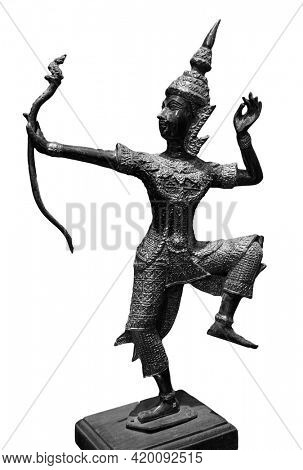 Prince Rama statue with a bow. Archer, Rama of Hinduism sculpture isolated on white background