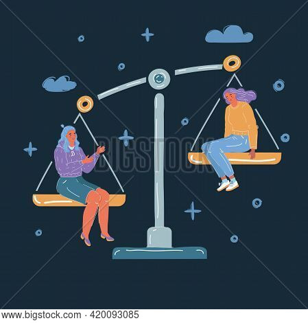 Vector Illustration Of Equality Concept Stock. Job, Envious, Jealousy, Low Self-esteem. Comparing He