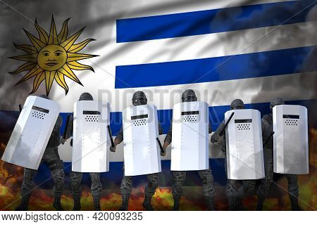 Uruguay Police Guards Protecting Order Against Riot - Protest Fighting Concept, Military 3d Illustra