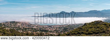 Panoramic View Of A Cloud Inversion Over The Citadel And Bay Of Calvi In The Balagne Region Of Corsi