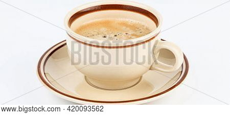 cup of coffee isolated on white background Cup of black coffee on table top view, flat lay, mock up. Cup of Black Coffee in White Ceramic Cup on plastic Tabletop