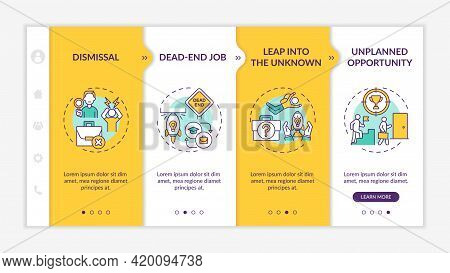 Job Transition Reasons Onboarding Mobile App Page Screen With Concepts. Transition Causes Walkthroug