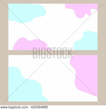 Visiting Card With Pastel Blue Pink Fluid Background.
