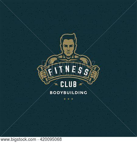 Bodybuilder Man Logo Or Badge Vector Illustration Male Bodybuilding Symbol Silhouette