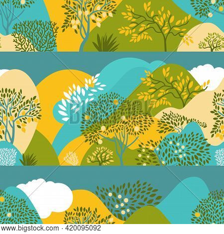 Seamless Pattern With Hilly Landscape, Trees, Bushes And Plants. Growing Plants And Gardening. Prote