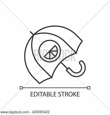 Branded Umbrella Linear Icon. Stylish Rain Protection. Designer Creating Modern Accessories. Thin Li