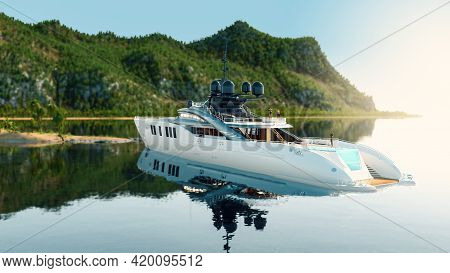 Big Luxury Boat Yacht Offshore Anchored In A Tropical Lagoon On A Sunny Summer Day, 3d Render.
