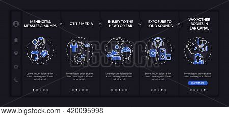Developed Hearing Disorder Onboarding Vector Template. Responsive Mobile Website With Icons. Web Pag