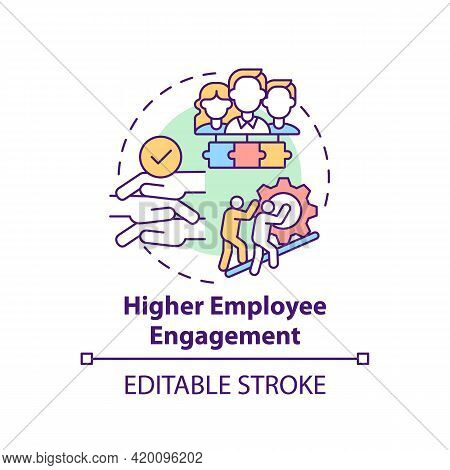 Higher Employee Engagement Concept Icon. Company Culture Idea Thin Line Illustration. Passion About