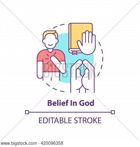 Belief In God Concept Icon. Personal Value Idea Thin Line Illustration. Religiosity. Strengthening F