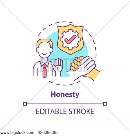 Honesty Concept Icon. Personal Value Idea Thin Line Illustration. Telling Truth. Strong Moral Princi