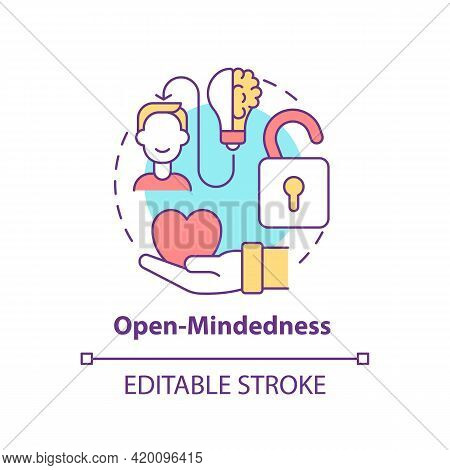 Open-mindedness Concept Icon. Personal Value Idea Thin Line Illustration. Open-minded Person. Welcom