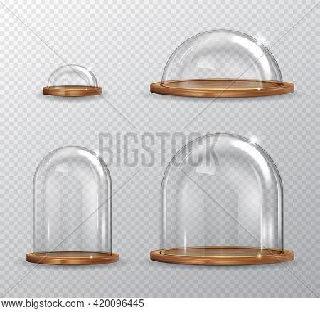 Realistic Detailed 3d Transparent Glass Domes Set. Vector