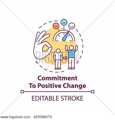 Commitment To Positive Change Concept Icon. Corporate Core Value Idea Thin Line Illustration. Growth