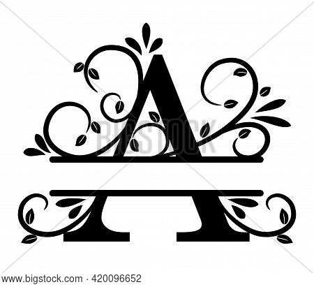 Split Letter A Monogram. Elegant Letter A With Curls And Leaves. Split Letter, Place To Insert First