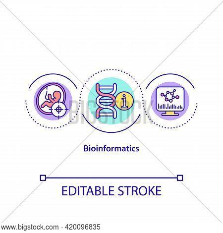 Bioinformatics Concept Icon. Field Of Biology That Analyzes Body Genomic Information To Predict Gene