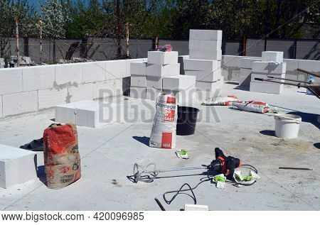 Building house with aerated concrete brick walls. May 11,2021. Kiev Region,Ukraine