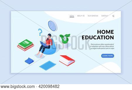 Home Education Concept. Isometric Vector Template Of Website Banner Advertising Contemporary Resourc