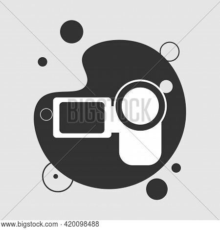 Camcorder Camera Isolated Solid Vector Icon. Video Camera Icon