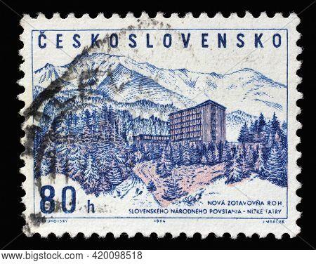 ZAGREB, CROATIA - SEPTEMBER 18, 2014: Stamp printed in Czechoslovakia shows Slovak national insurrection rest home, Low Tatra, Nizke Tatry, circa 1964