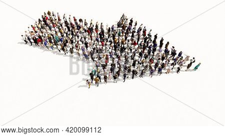 Concept conceptual large community of people forming the road sign. 3d illustration metaphor for navigation, strategy, journey, guidance, choice and decision