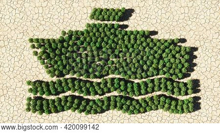 Concept or conceptual group of green forest tree on dry ground background, boat icon. 3d illustration metaphor for cruise, tourism, holiday, recreation or international shipment