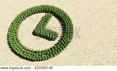 Concept or conceptual group of green forest tree on dry ground background, clock icon. 3d illustration metaphor for time, countdown,  chronometer, business and deadline
