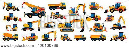 Large Collection Of Construction Equipment. Set Of Commercial Vehicles For Construction Work. Excava