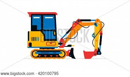 Construction Machinery, Mini Excavator. Commercial Vehicles For Work On The Construction Site. Vecto