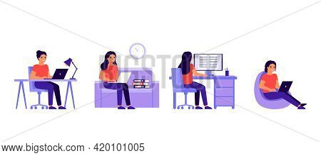 Young Woman Work At Home Office With Laptop Or Computer. Busy Woman Work In Various Place. Workflow,