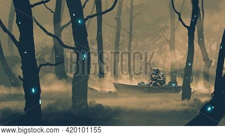 Man In A Protection Suit Rowing A Boat In Poison Swamp, Digital Art Style, Illustration Painting