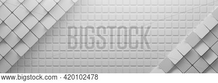 Wide Geometric Banner With Embossed White Squares And Blank Space In The Center. 3d Illustration.
